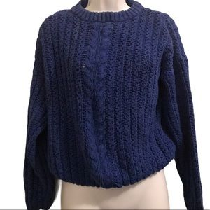 VTG Chunky Cable Knit Oversized Cropped Sweater